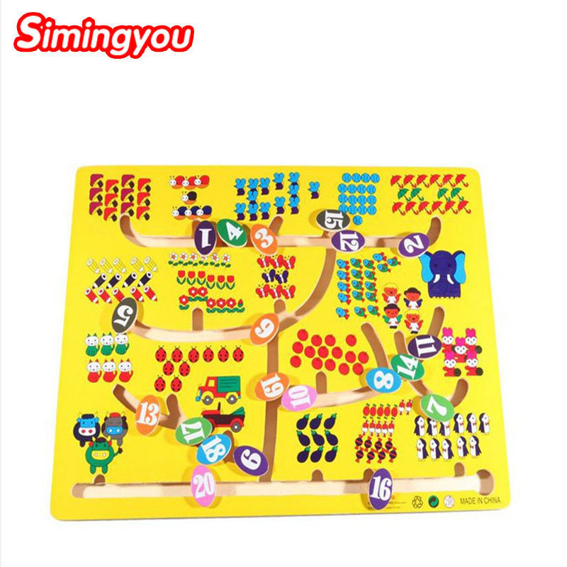 Simingyou Kids Game Wooden Digital Lookup Pair Maze Montessori Educational Toys For Children C20-A-321 Drop Shipping