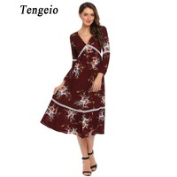 Tengeio Women Casual Autumn Boho Dress Clothing Deep V Long Sleeve Floral Print Bohemia Style Vestido