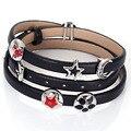 Recentes europeia charm bracelet para as mulheres com slides charme punk rock estilo couro pulseira braçadeira