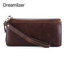 Dreamlizer Vintage Öl Wachs Leder Hand Kupplung Brieftasche Männlichen Langen Armband Geldbörse Braun Handy Tasche Brieftasche für Kartenhalter