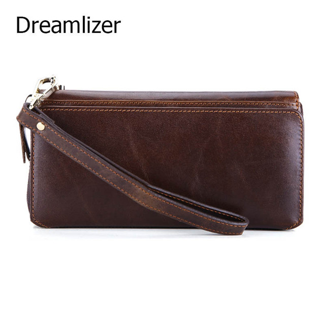 Dreamlizer Vintage Oil Wax Leather Hand Clutch Wallet Male Long Wristlet Purse Brown Cellphone Pocket Wallet for Card Holder