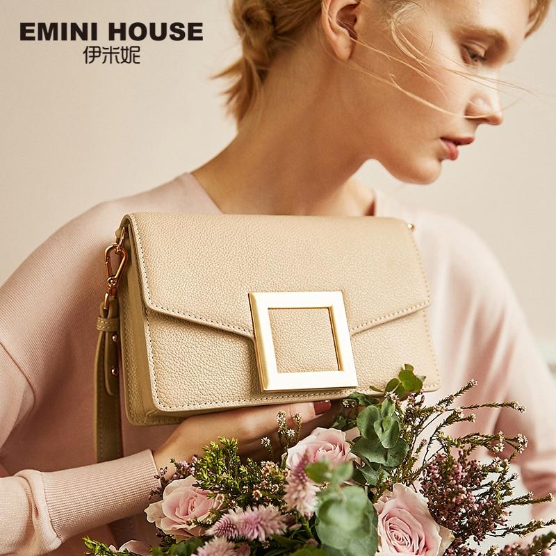 EMINI HOUSE Square Buckle Crossbody Bags For Women Luxury Handbags Women Bags Designer Split Leather Messenger Bag Shoulder Bag