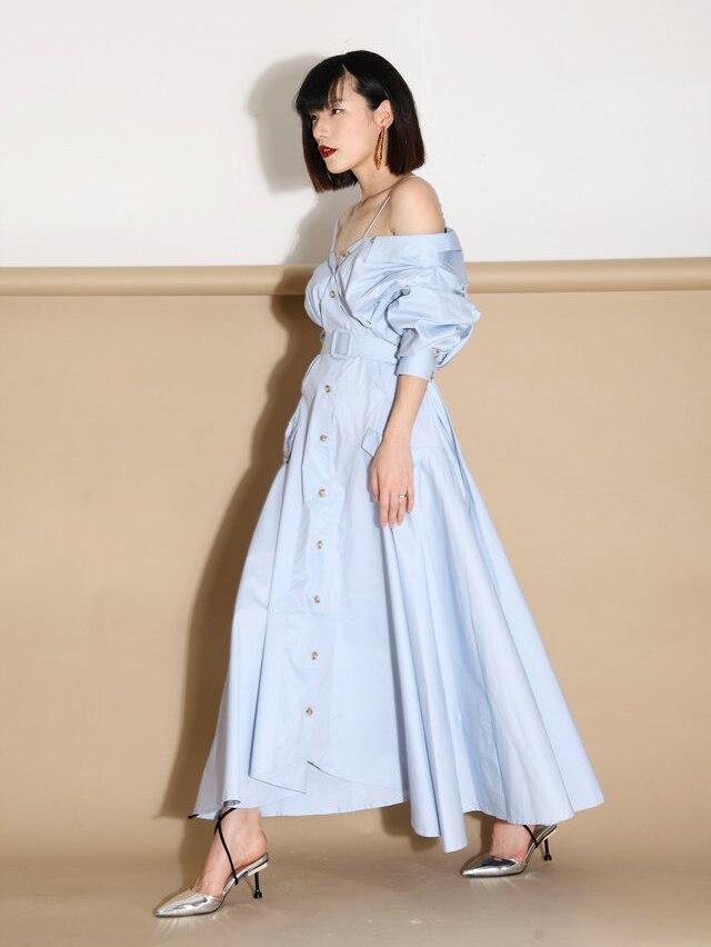 2017 Medio Moda Largo Diseño Verano Blue Strap Vestido Spaghetti Primavera Tendencia Calle Ruched HFBaH