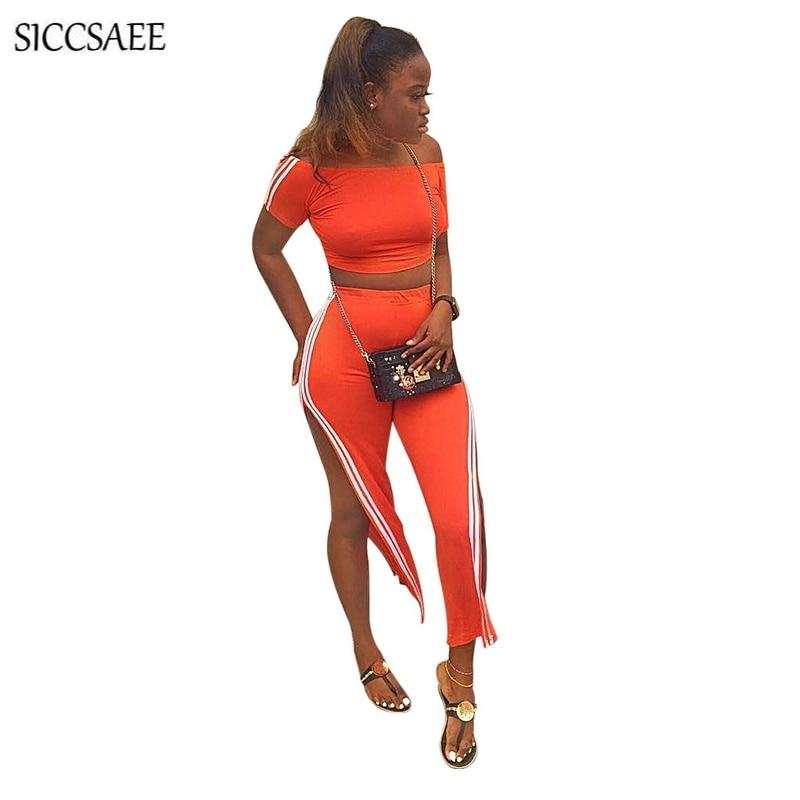>Striped Side Two Piece Set Fringe Bodysuit Side <font><b>Split</b></font> <font><b>Pants</b></font> <font><b>Suits</b></font> Sexy Backless Off Shoulder Crop Top Fall 2018 Overalls Orange