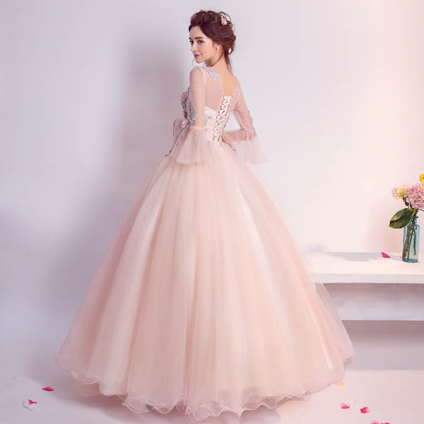 83e179319f3 placeholder Cheap Quinceanera Gowns Pink Long Sleeve Quinceanera Dresses  Debutante vestido 15 anos Ball Gown Sweet Prom