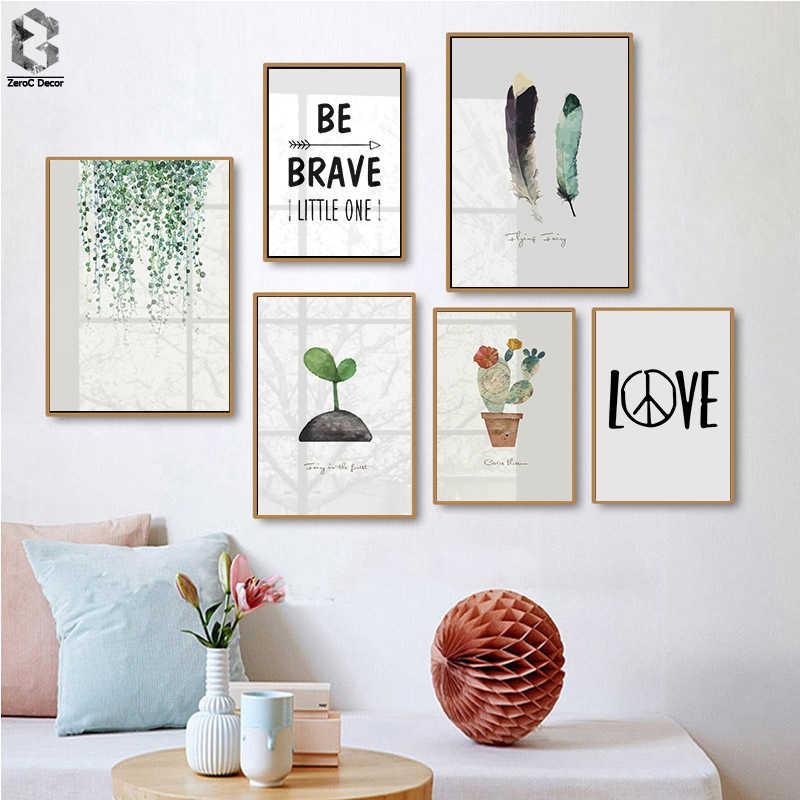 Nordic Foglie Verdi Aromatique Acquerello Arte Stampe Botanico Cactus Piuma Citazioni di Arte Della Parete Pianta a Foglia per Living Room Decor
