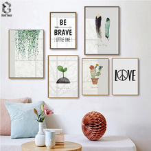 Nordic Green Leaves Aromatique Watercolor Art Prints Botanical Cactus Feather Quotes Wall Plant Leaf for Living Room Decor