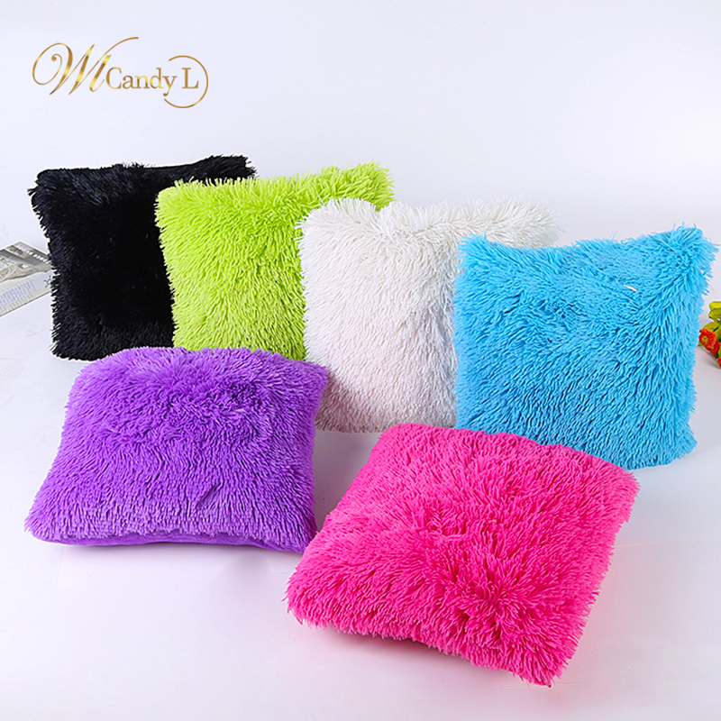 WL Candy L 14 Color Soft Plush Cushion Cover Solid Throw Pillow Cover For Sofa Car Chair Bed Hotel Home Decor Valentines Gifts