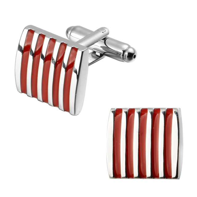 A Pair Of High Quality Brass Red Enamel Silver Striped Cufflinks
