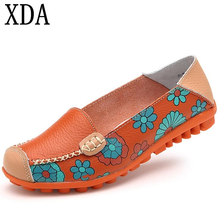 XDA 2018 new style fashion ballet summer flower print women shoes loafer  Genuine leather woman flats shoes free shipping