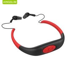 100% עמיד למים 8 GB/4 GB MP3 מוסיקה מדיה נגן מתחת למים Neckband שחייה ספורט mp3 עם רדיו FM עמיד למים אוזניות
