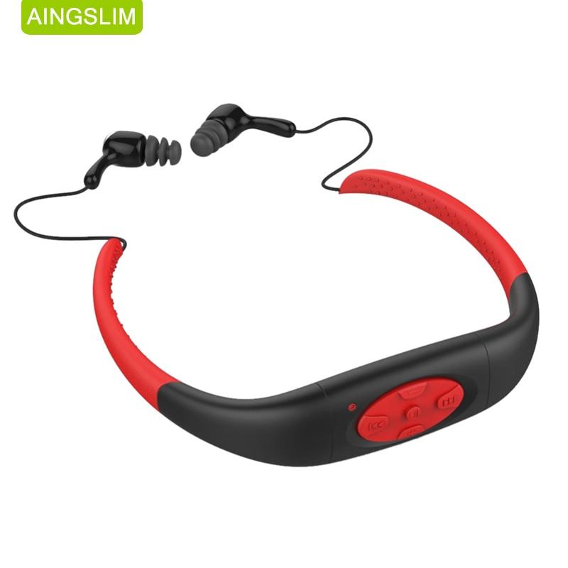 100% Wasserdichte 4 Gb Mp3 Musik Media Player Unterwasser Nackenbügel Schwimmen Sport Mp3-player Mit Fm Radio Stereo Audio Kopfhörer