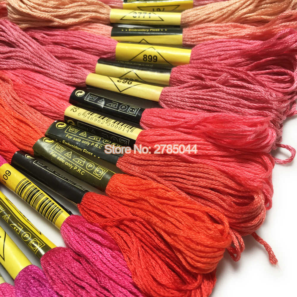 Sanbest 100 قطعة متعددة الألوان عبر غرزة الموضوع لامعة التطريز الموضوع الحرف الخيط الخياطة المواضيع اليد الحياكة TH00038