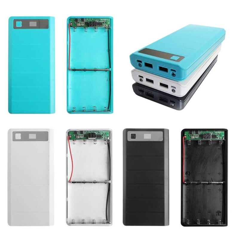Type C Input 2 USB 8x 18650 Battery DIY Holder LED Display Power Bank Case Box No Battery