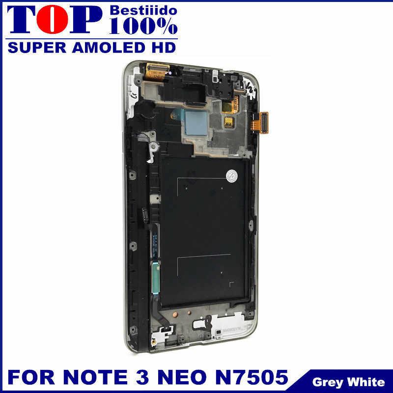 Test AMOLED ekran Samsung Galaxy not 3 için Note3 Neo Mini Lite N7505 LCD dokunmatik ekranlı sayısallaştırıcı grup çerçeve değiştirme