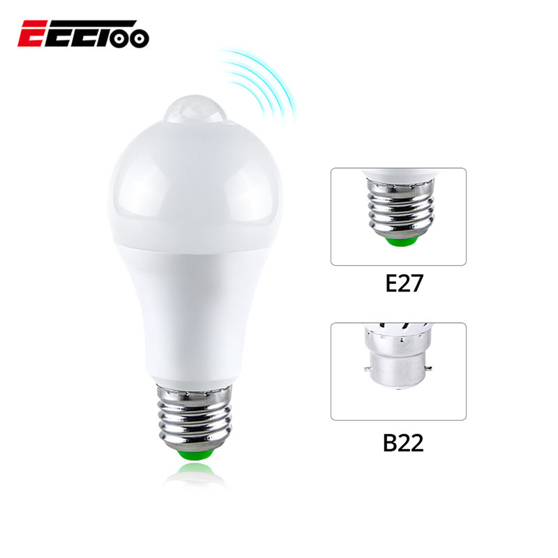 AC85-265V Smart LED Emergency Light Bulb With Motion Sensor Lamp Human Body Movement Detector Night Light Home Security Lighting