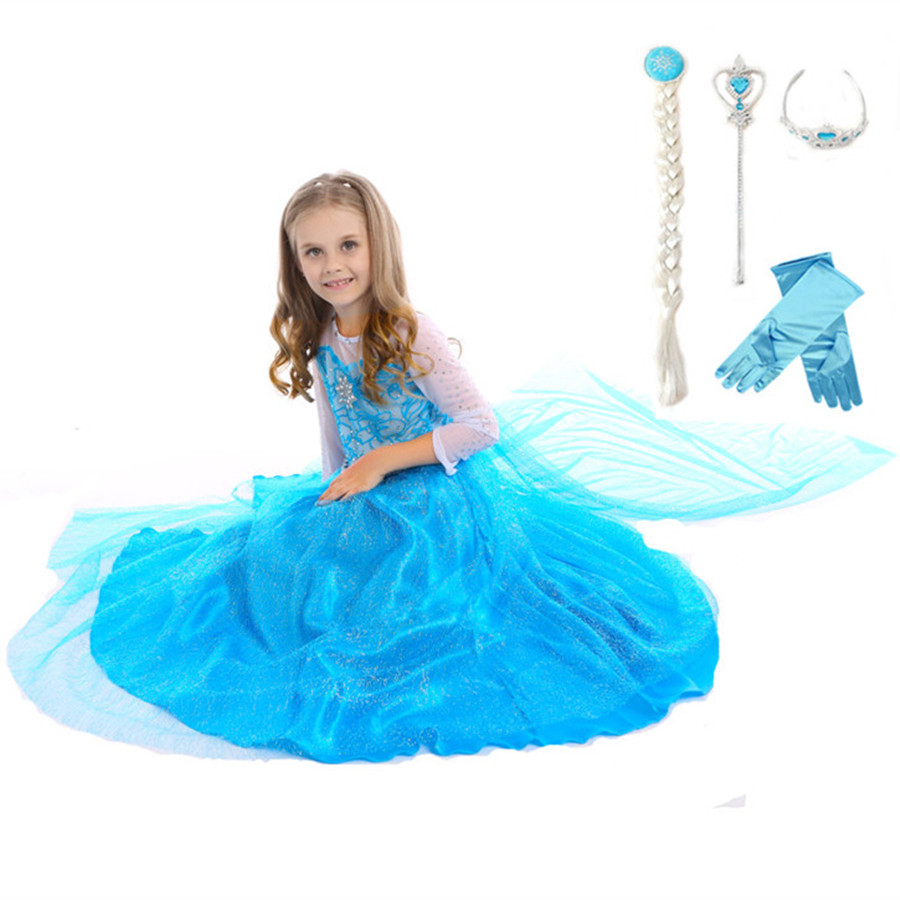 3-8T Elsa Queen Blue Dress with Cloak Crown Magic Wand Glove Braid Christmas Cosplay Clothes Baby Girls Party Princess Dress