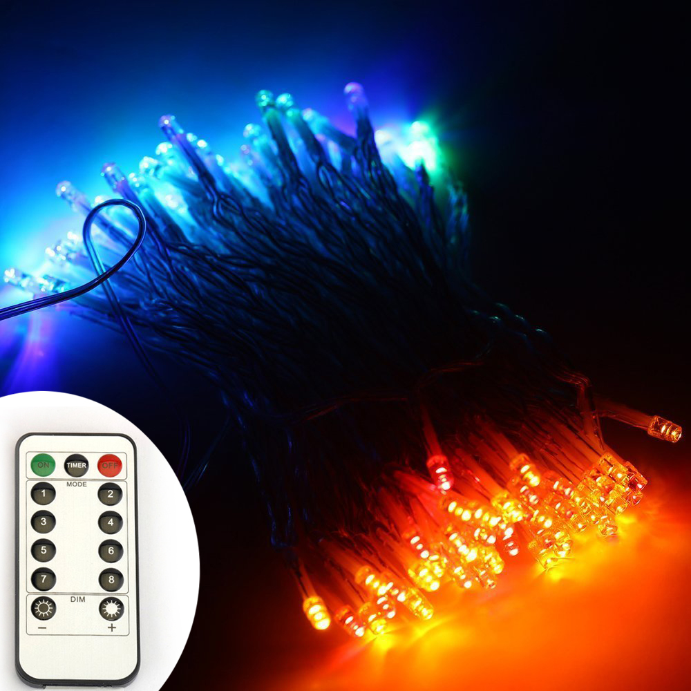 10m/33Ft 100 leds WarmWhite Light LED Christmas String Lights PVC Wire Battery Powered 8 ...