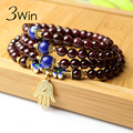 3Win Fatima Hand Hamsa AAA Natural Garnet Bracelets For Women Four String DIY Original Handmade Palm Rosario Bracelet Wholesale