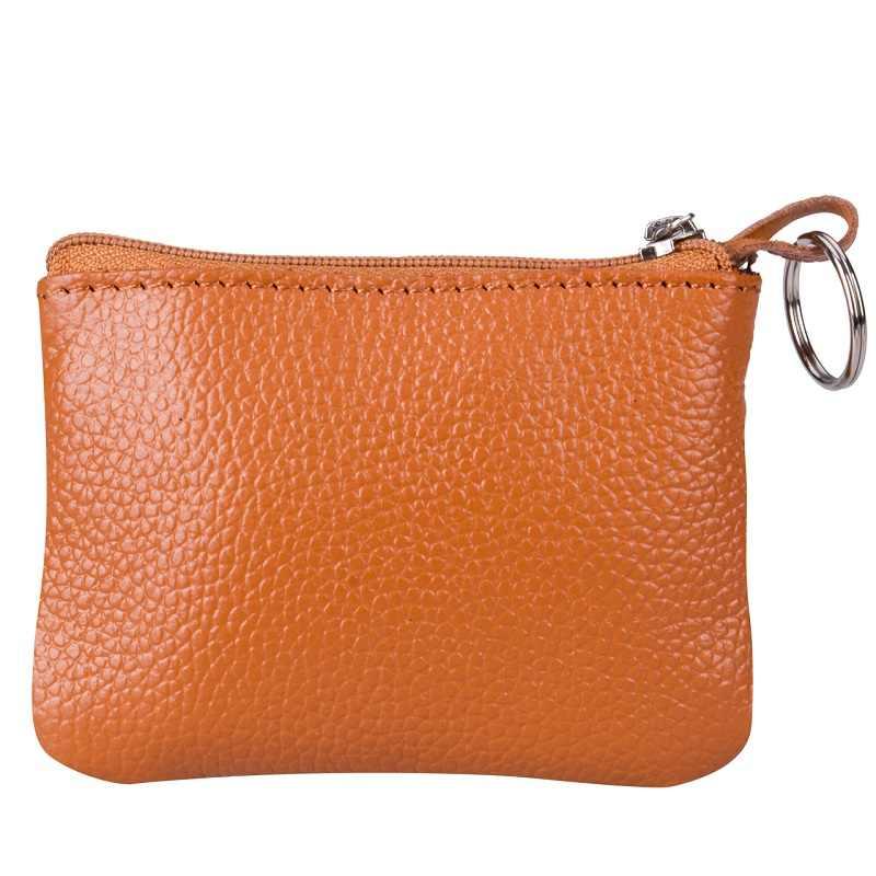 Miękkie prawdziwej skóry mężczyzna kobiet karty futerał na monety i klucze portfel na zamek torba typu worek torebka