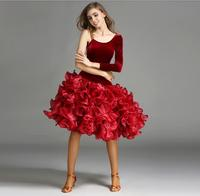 New Luxury Big Pendulum Red Velvet Latin Dance Dress Women Latin Dress Salsa Dancing Dress