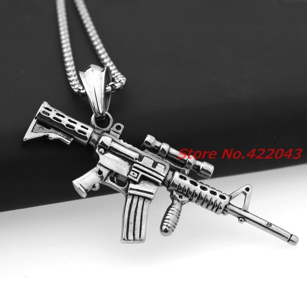 Punk Rock Strange New Creative Sniper Rifle Gun Silver Mens Biker Pendant necklace Birthday Gift Toy Gun Does not launch