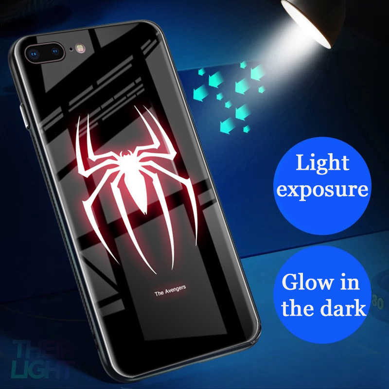Superhero Spiderman Luminous Tempered Glass Phone Case for iPhone 6 6s 7 8 Plus XS MAX XR 10 Marvel Avengers Cover Superman Logo