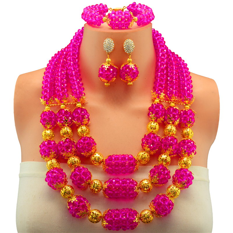цена Crystal Beads Bridal Jewelry Sets African Nigerian Wedding Beads for Women Jewelry Set Choker Necklace онлайн в 2017 году