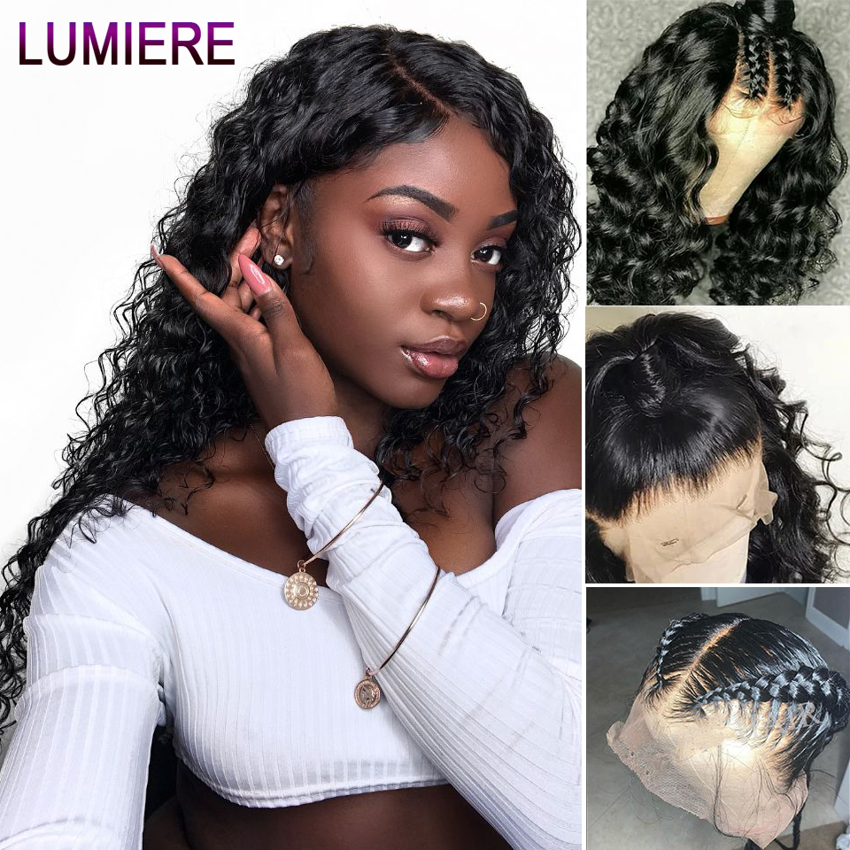 Lumiere Hair Human-Hair-Wigs Water-Wave Lace-Front Pre-Plucked Peruvian with Remy
