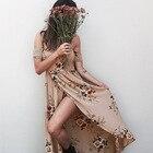 Save 3.98 on 2017 Summer Dress Women Off The Shoulder Sexy Split Dress Floral Print Wrapped Chest Long Dress Bohemia Beach Dress Woman