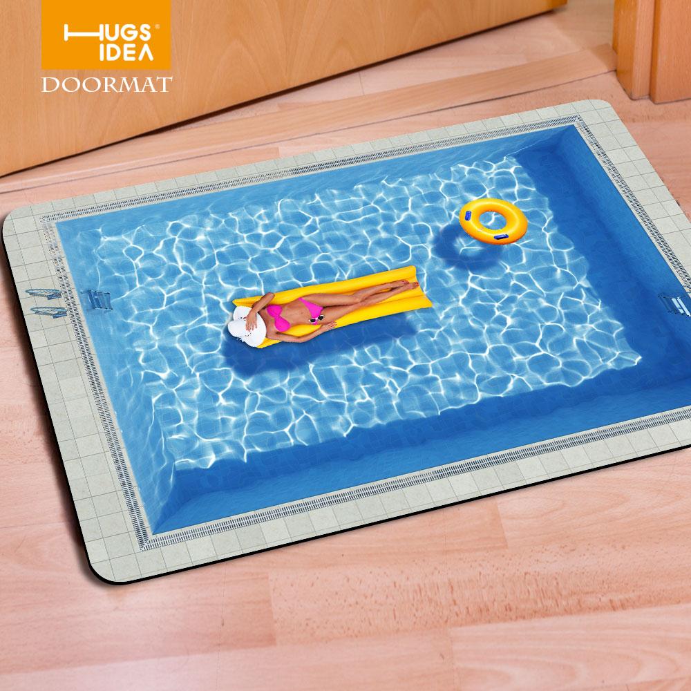 HUGSIDEA Modern Living Room Carpet 3D Swimming Pattern Floor Doormat ...