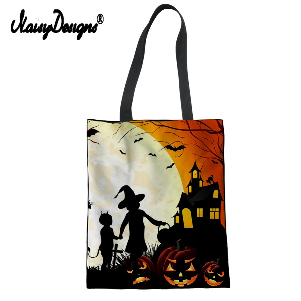 3D Halloween Printing Reusable Shopping Bag Halloween Witch Tote Bags Girls Canvas Bags