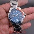Corgeut 40 mmBLIGER повседневные часы с керамическим ободком для мужчин синий циферблат топ бренд класса люкс военные наручные часы Мода Automati