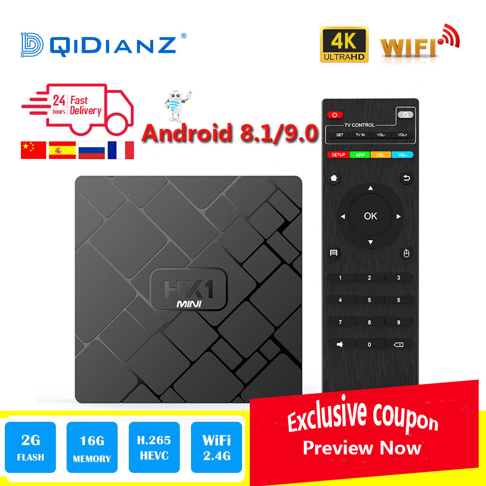 HK1 mini Smart TV BOX Android 8.1/Android 9.0 2 GB + 16 GB RK3229 Quad-Core WIFI 2.4G 4 K 3D HK1mini Google Netflix décodeur
