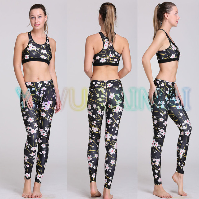 3f96cb47cefe8 JIGERJOGER 2016 Plum flower Spring style health Fitness Workout clothes  Sportswear Women s Yoga Sets Sports Bra black yoga pant