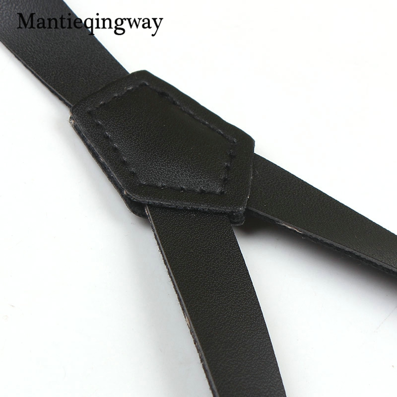Mantieqingway 3 Clips Suspenders for Wome Adjustable PU Leather Black Suspenders Mens Buckle Skinny Braces Belt Trousers Strap
