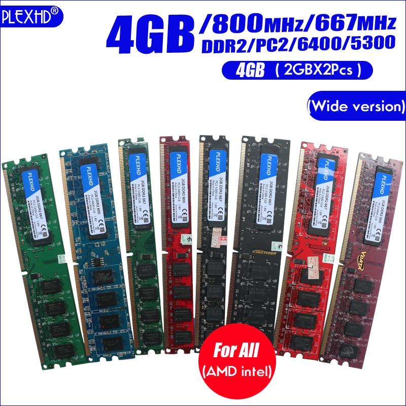 PLEXHD Desktop PC Memory RAM Memoria Module DDR2 800 PC2 6400 4GB(2PCS*2GB) Compatible DDR2 800MHz / 667MHz  (Wide version) 3