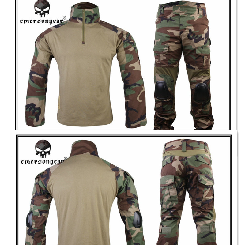 2017 New EMERSON Gen2 BDU Combat Uniform Airsoft Training Shirt & Pants Set With Elbow Knee Pads Suits Woodland