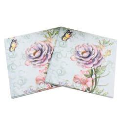 Свежей розы бабочки Бумага салфетки для Событие и Партия украшения ткани декупаж 33 см * 33 см 20 шт./упак./ много