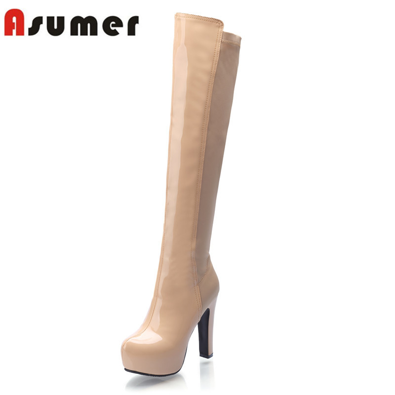 ASUMER 2018 high quality hot sale pu leather over the knee boots autumn winter platform thick high heel wome bootsASUMER 2018 high quality hot sale pu leather over the knee boots autumn winter platform thick high heel wome boots