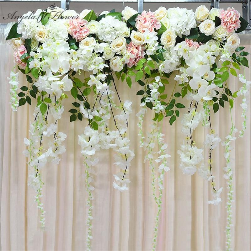 Artificial flower row orchid flower vine wisteria DIY wedding arch decor platform background flower wall window