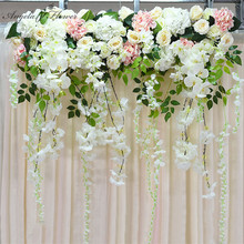 Artificial flower row orchid flower vine wisteria DIY wedding arch decor platform background flower wall window road lead floral