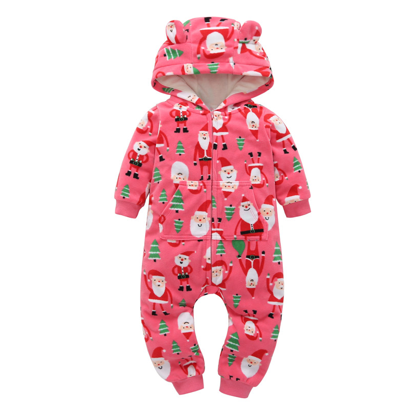 Santa Claus Christmas clothes for 0-24m 2018 newborn toddler baby boy girl one-piece cartoon hooded romper cotton zipper red