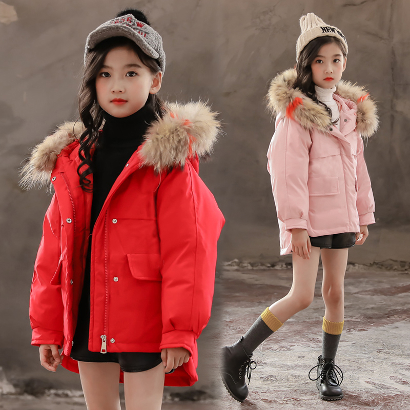 2018 children girls down jacket girl clothes thicken warm winter coat teenager jackets raccon parka real fur hooded clothing 2016 new winter children clothing cute graffiti animals girl parka warm girls jackets