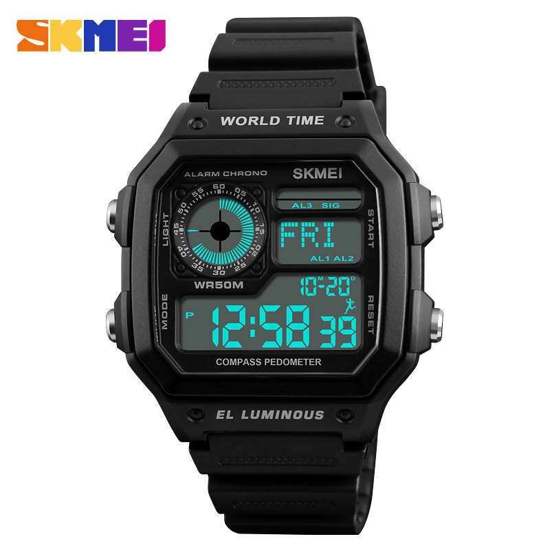 SKMEI Sports Watch Men Countdown Compass Watchs Luxury Clock Waterproof LED Electronic Digital Wristwatch Relogio Masculino outdoor sports watches men skmei brand countdown led men s digital watch altimeter pressure compass thermometer reloj hombre