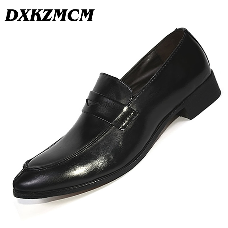 DXKZMCM PU Leather Fashion Men Business Dress Loafers Pointy Black Shoes Oxford Breathable Formal Wedding Shoes reetene fashion men dress shoes fashion business pu leather oxford shoes for men office men shoes wedding shoes men zapatos