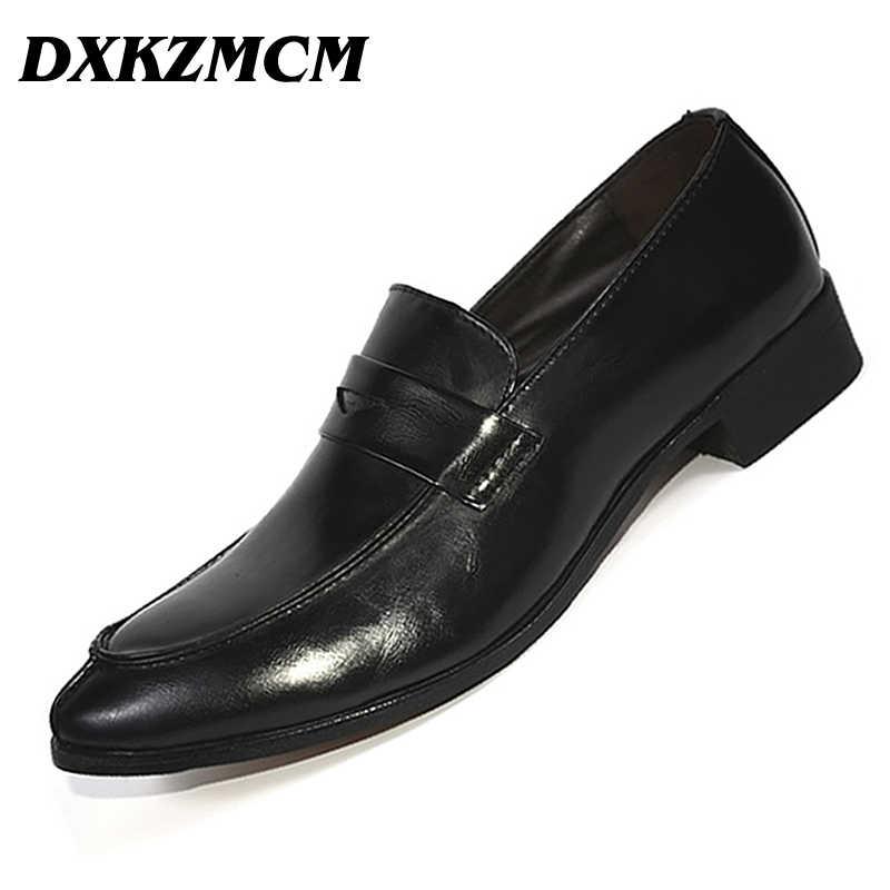 DXKZMCM кожаные деловые мужские модельные лоферы с острым носком; черные туфли-оксфорды; Мужские дышащие формальные свадебные туфли