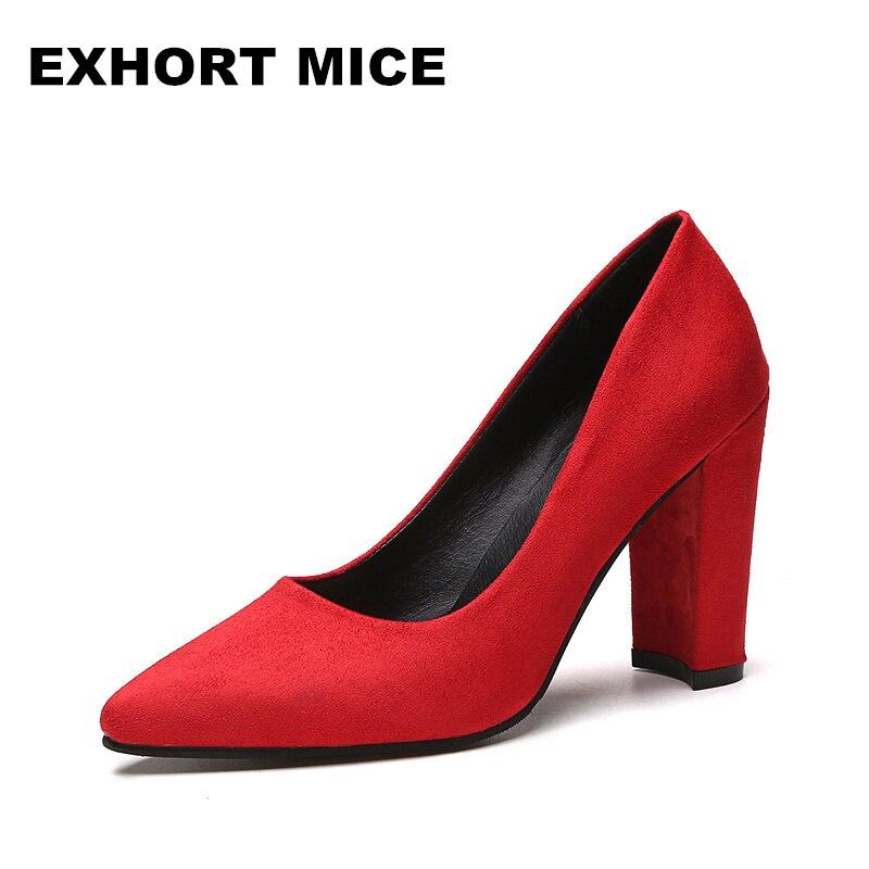 2018 Для женщин Насосы Ремешок на щиколотке Женская обувь на широком каблуке квадратный носок ботинки на среднем каблуке платье работы Насос... ...