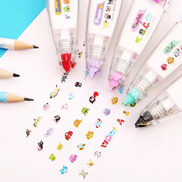 Cartoon Owl Dog Press Decorative Correction Tape Cute Animal Diary DIY Scrapbooking Stickers Stationery School Supplies