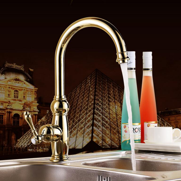 New Kitchen faucet Golden Copper cold and hot water tap Luxury Sink faucet Vegetable washing basin 360 degree rotating faucet new kitchen faucet rose golden copper for cold and hot water tap sink faucet vegetable washing basin 360 degree rotating faucet